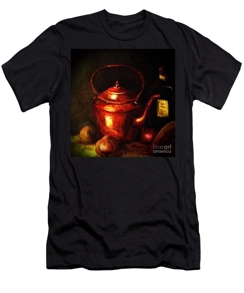 Red Copper Kettle Men's T-Shirt (Athletic Fit) featuring the painting The Red Kettle by Hazel Holland