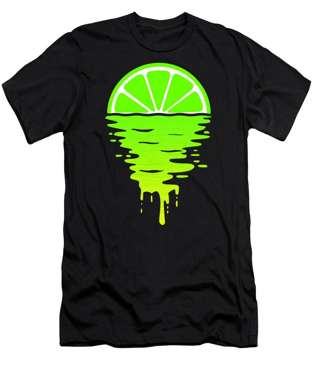 Lemon T-Shirt featuring the digital art Lime Sunset by Filip Schpindel