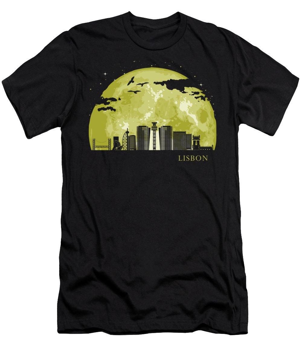 Skyline T-Shirt featuring the digital art Lisbon Moon Light Night Stars Skyline by Filip Hellman