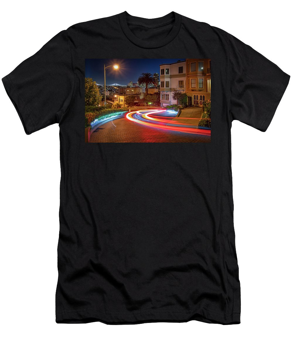 Lombard Street Men's T-Shirt (Athletic Fit) featuring the photograph Lombard Street And The Bay Bridge by Kristen Wilkinson