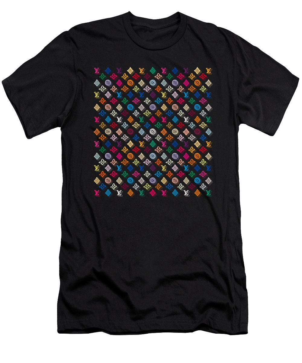 Lv T-Shirt featuring the painting Louis Vuitton Monogram-4 by Nikita