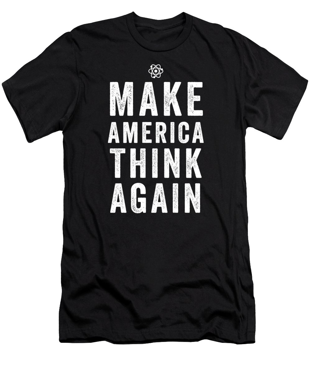 Funny Men's T-Shirt (Athletic Fit) featuring the digital art Make America Think Again Funny Science by Crypto Keeper