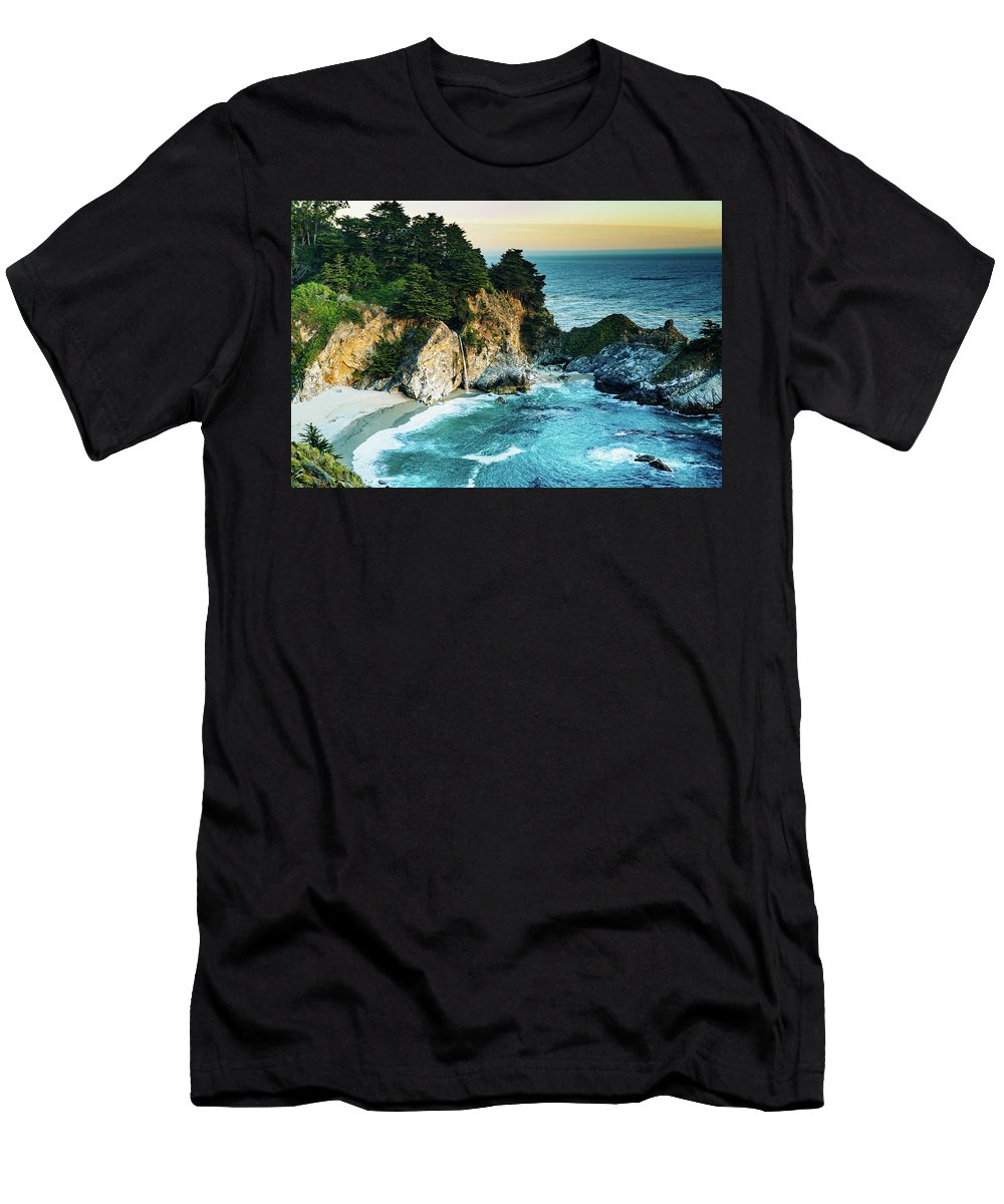 Waterfall Mcway Big Sur California Sunset Beach Ocean Green Blue Water Sand Men's T-Shirt (Athletic Fit) featuring the photograph Mcway Waterfall by Hilario Ruiz