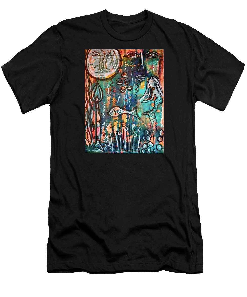 Mermaid Men's T-Shirt (Athletic Fit) featuring the mixed media Mermaids Dream by Mimulux patricia No