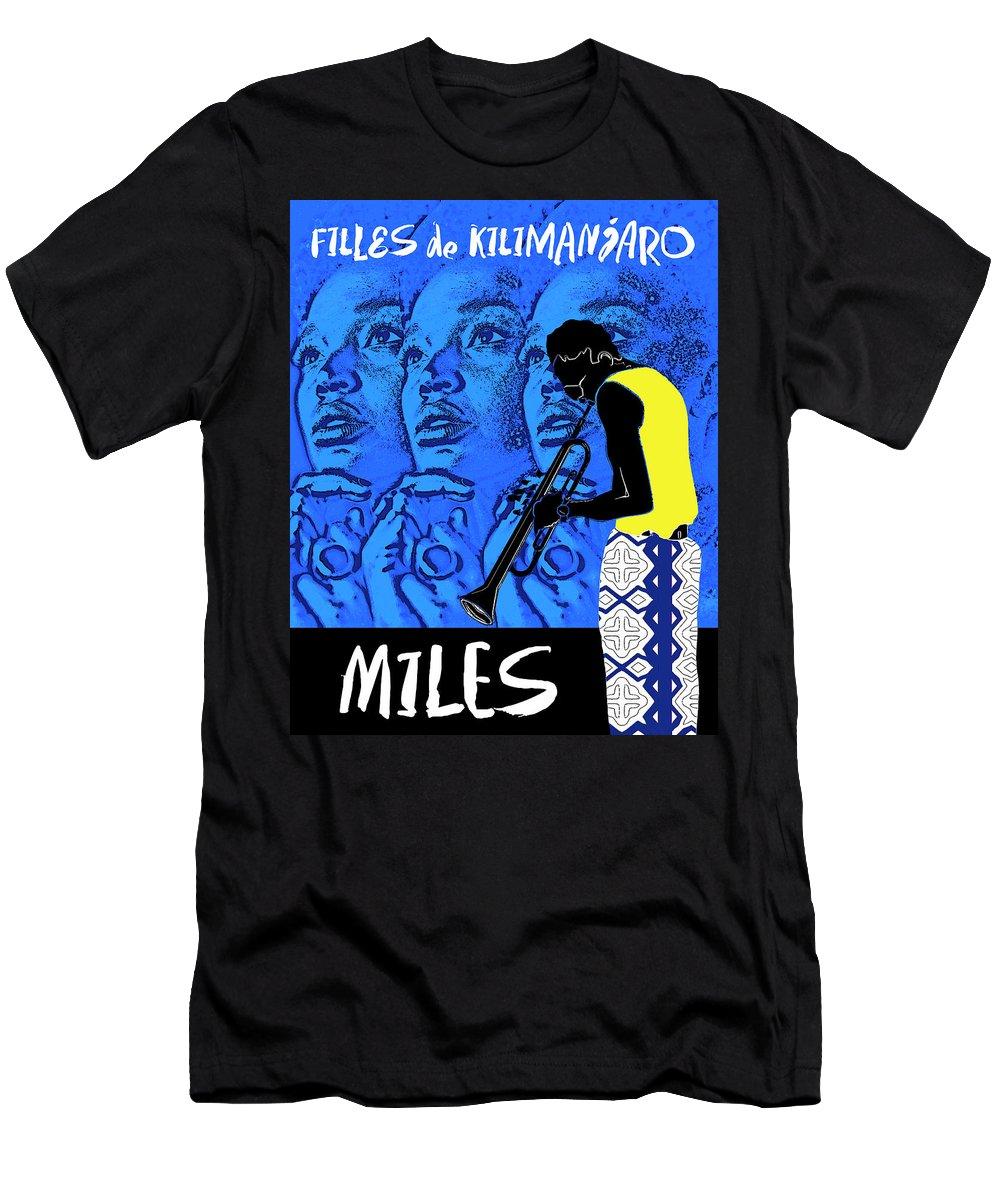 Miles Davis T-Shirt featuring the digital art Miles Davis Blue - Filles De Kilimanjaro by Regina Wyatt