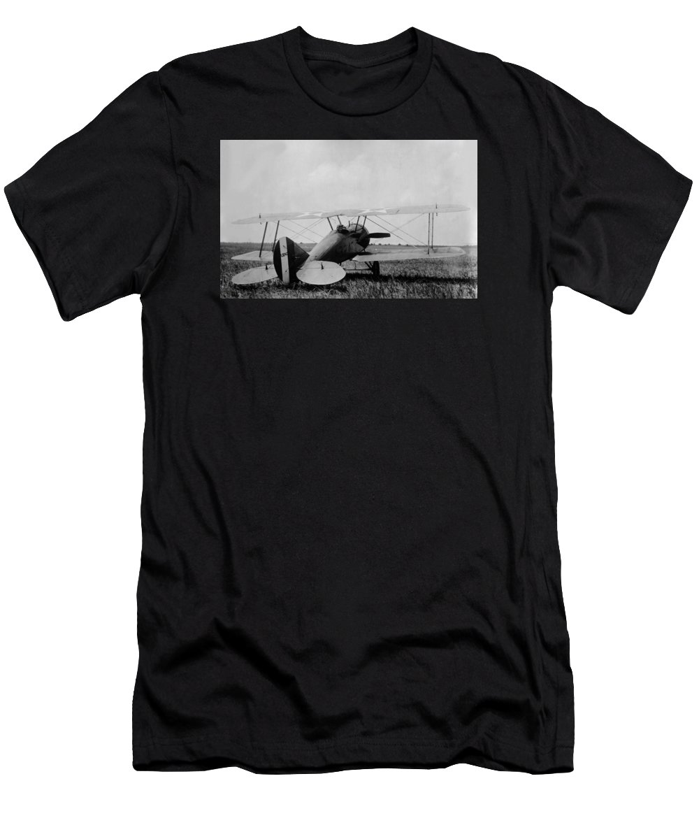 Biplane T-Shirt featuring the photograph Military Biplane - Marine Flying Field - 1918 by War Is Hell Store