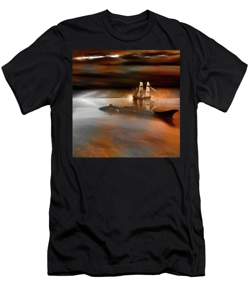 Submarine Men's T-Shirt (Athletic Fit) featuring the digital art Nautilus by Michael Cleere