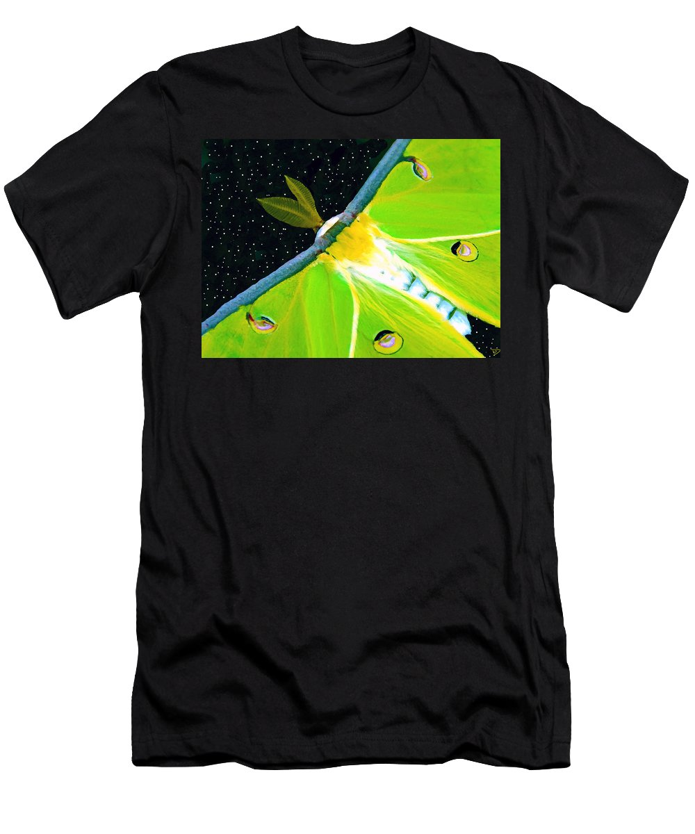 Night Of The Luna Moth Men's T-Shirt (Athletic Fit) featuring the painting Night Of The Luna Moth by David Lee Thompson