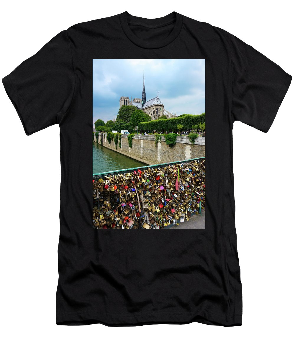 Lock Men's T-Shirt (Athletic Fit) featuring the photograph Notre Dame From The Lock Bridge by Richard A Brown