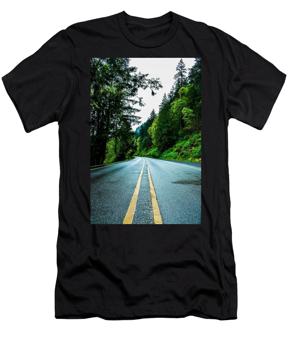 Pnw Men's T-Shirt (Athletic Fit) featuring the photograph Pacific Northwest Road by Adam Trimble