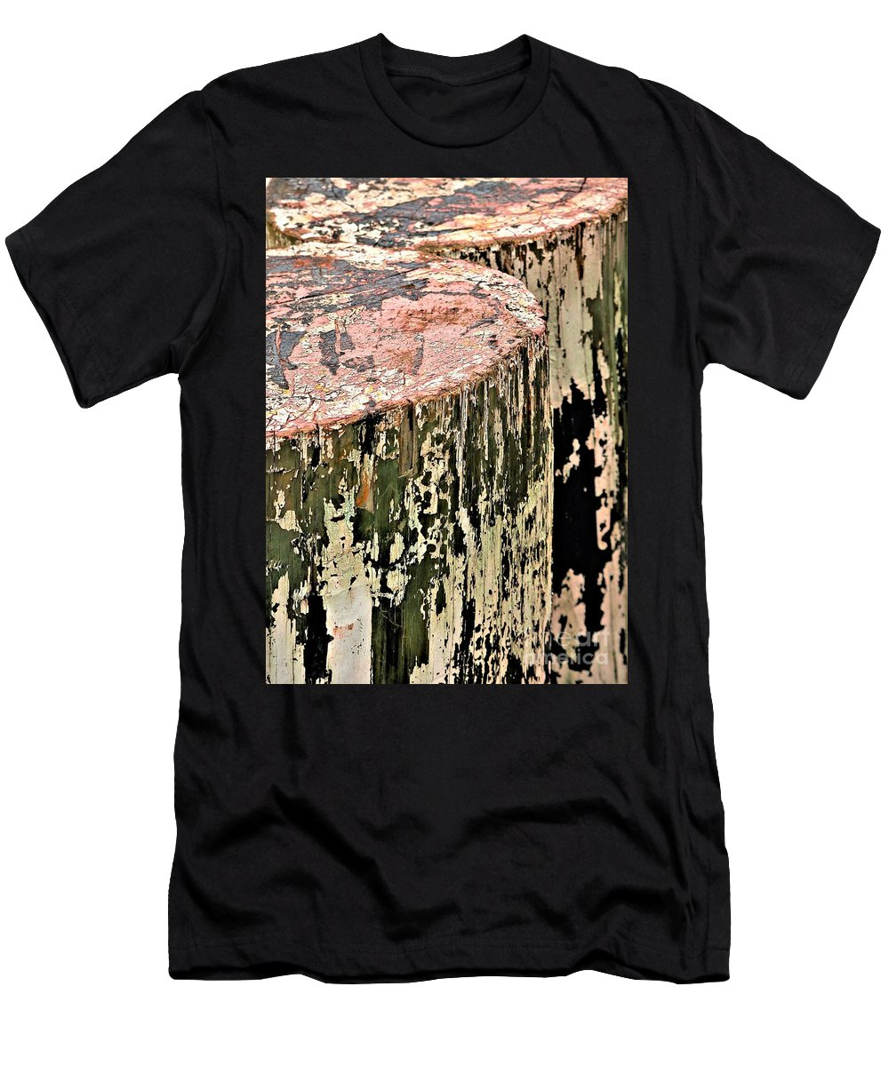 Nautical Men's T-Shirt (Athletic Fit) featuring the photograph Pilings In Abstract by Diann Fisher