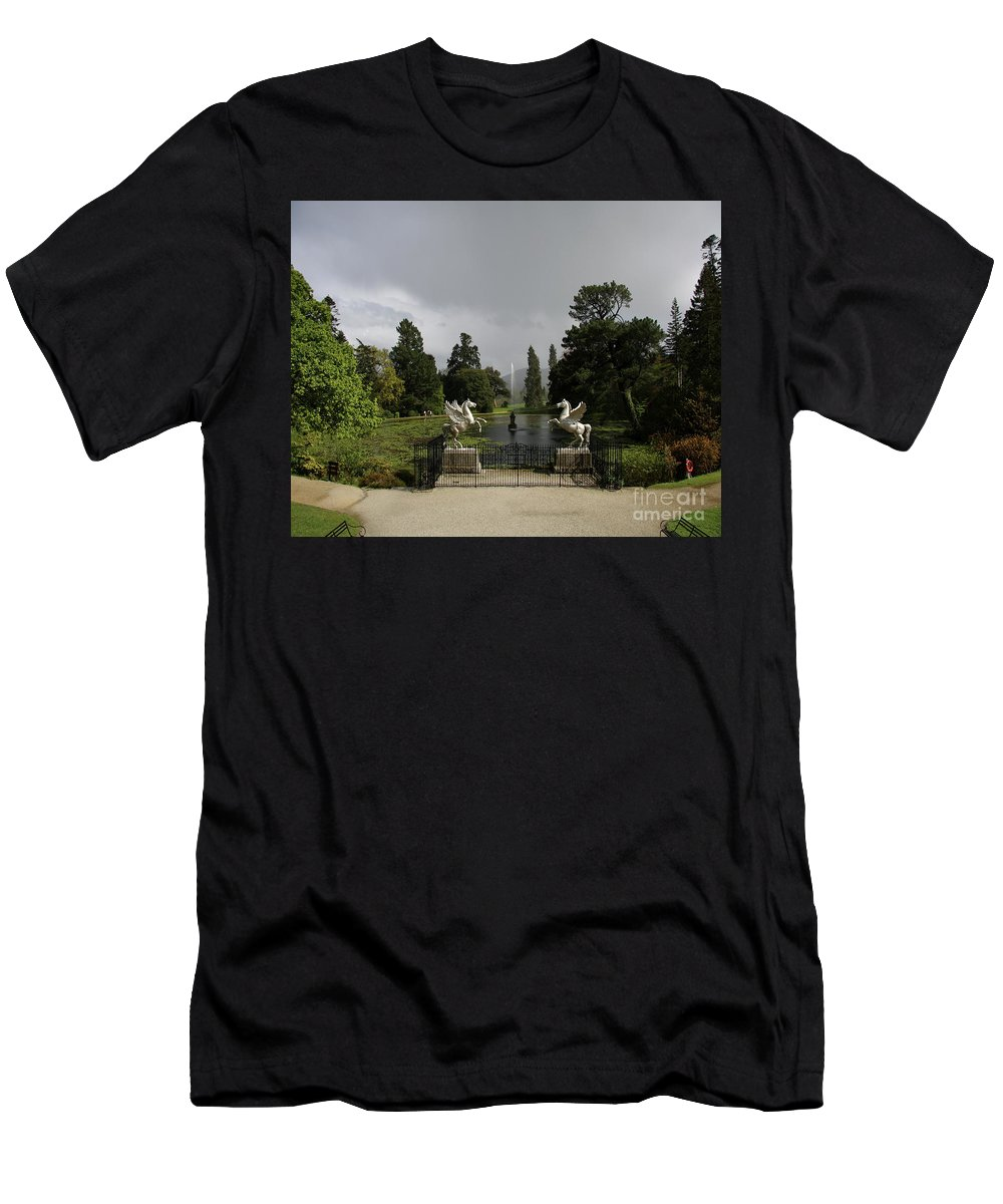 Powers Court Garden Men's T-Shirt (Athletic Fit) featuring the photograph Powers Court Gardens - Ireland by Christiane Schulze Art And Photography