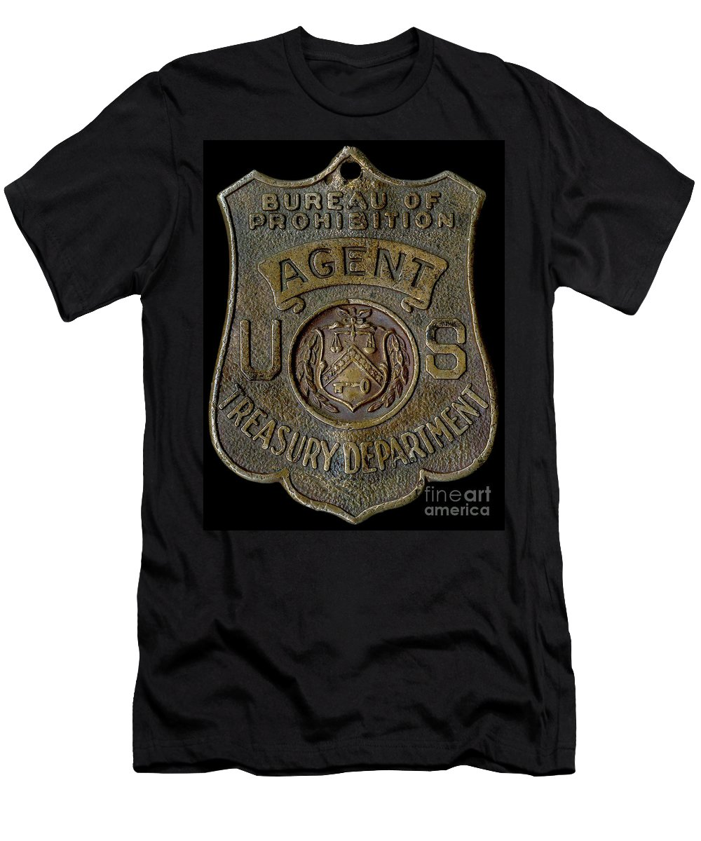 Prohibition Agent Badge Men's T-Shirt (Athletic Fit) featuring the photograph Prohibition Agent Badge by Jon Neidert