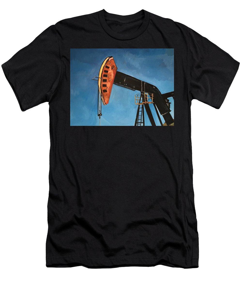 Pump Jack Men's T-Shirt (Athletic Fit) featuring the painting Pump Jack by Norman Burnham