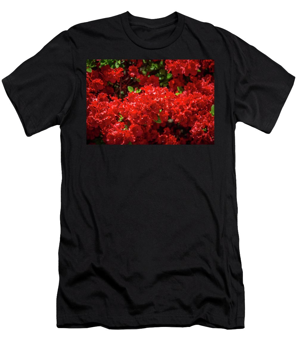 Flowers Men's T-Shirt (Athletic Fit) featuring the photograph Red Flowers by Lora J Wilson