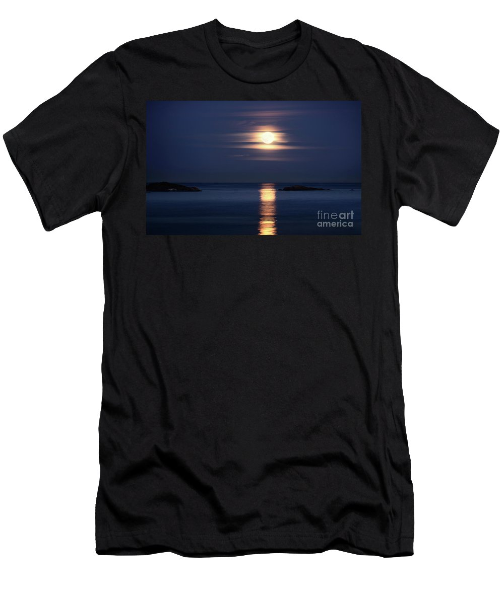 Moon Men's T-Shirt (Athletic Fit) featuring the photograph Red Full Harvest Moon Rising Above Pacific Ocean In Autumn by Awen Fine Art Prints