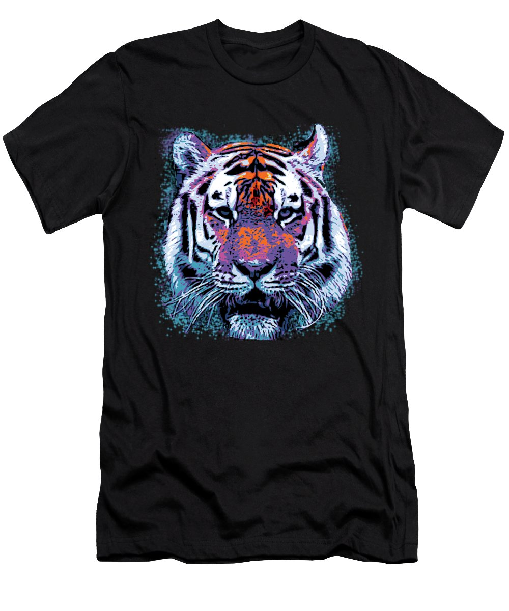 Cool Men's T-Shirt (Athletic Fit) featuring the digital art Retro 80s Tiger Face Splatter Paint by Flippin Sweet Gear