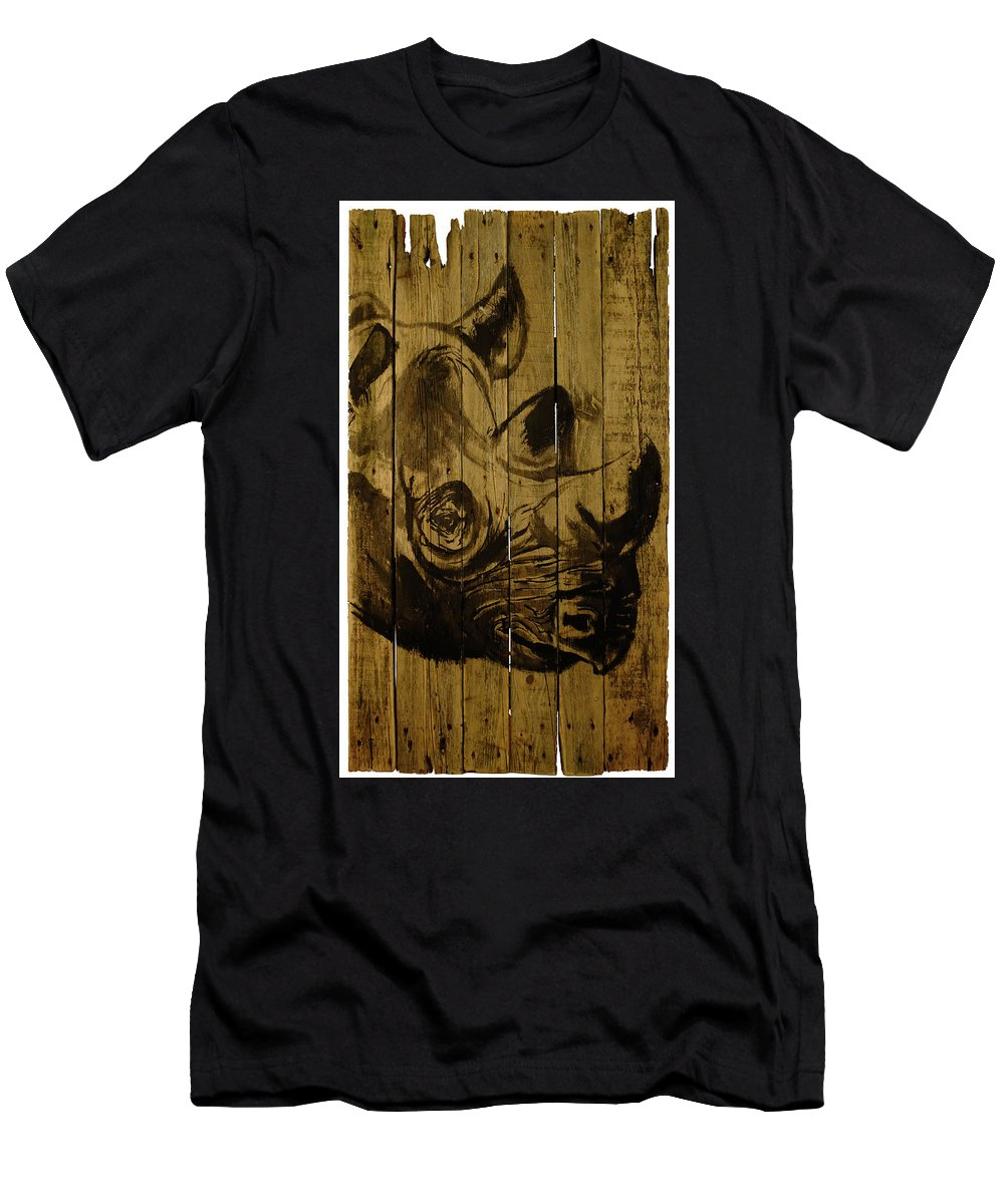 Rhinoceros Men's T-Shirt (Athletic Fit) featuring the painting Rhino by Pechane Sumie