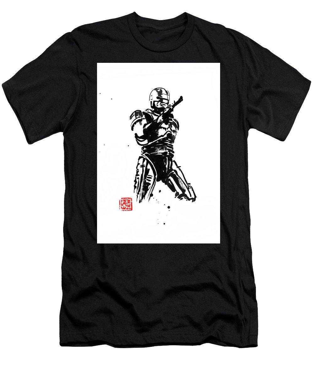 Robocop Men's T-Shirt (Athletic Fit) featuring the painting Robocop by Pechane Sumie