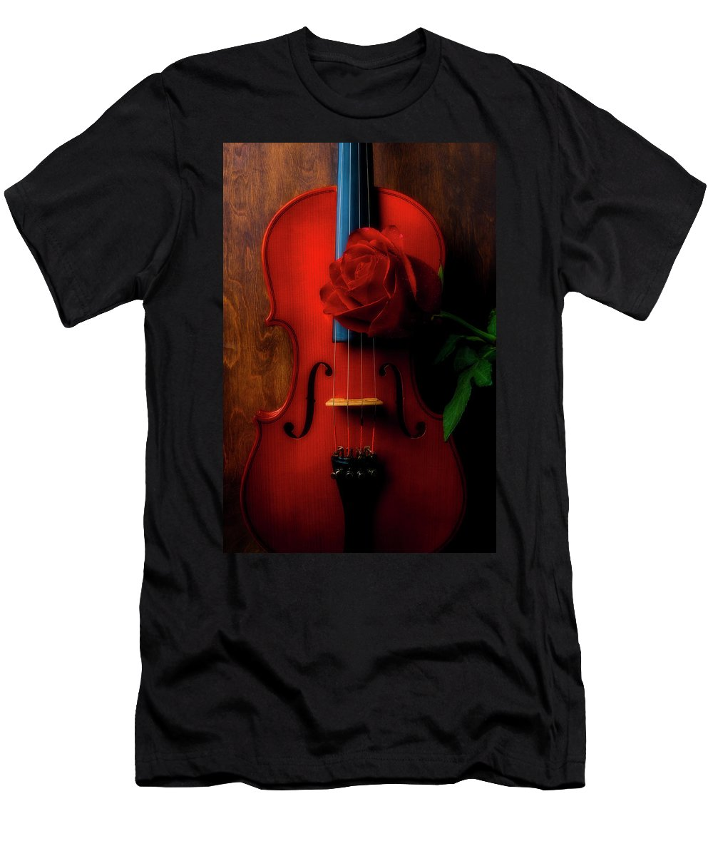 Violin T-Shirt featuring the photograph Romantic Rose With Violin by Garry Gay