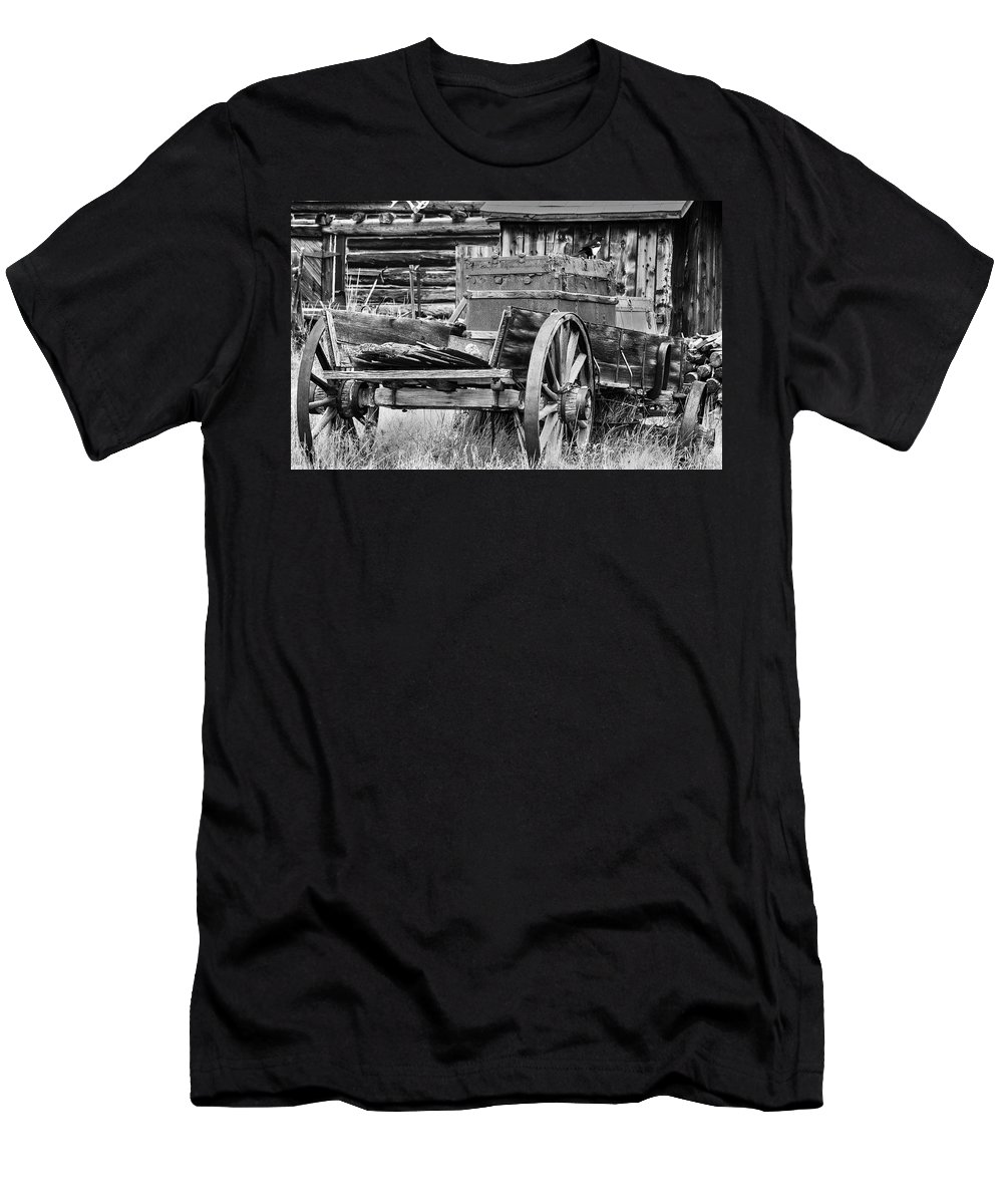 Vintage Horse Drawn Cart Men's T-Shirt (Athletic Fit) featuring the photograph Rustic Horse Drawn Cart by Kurt Meredith
