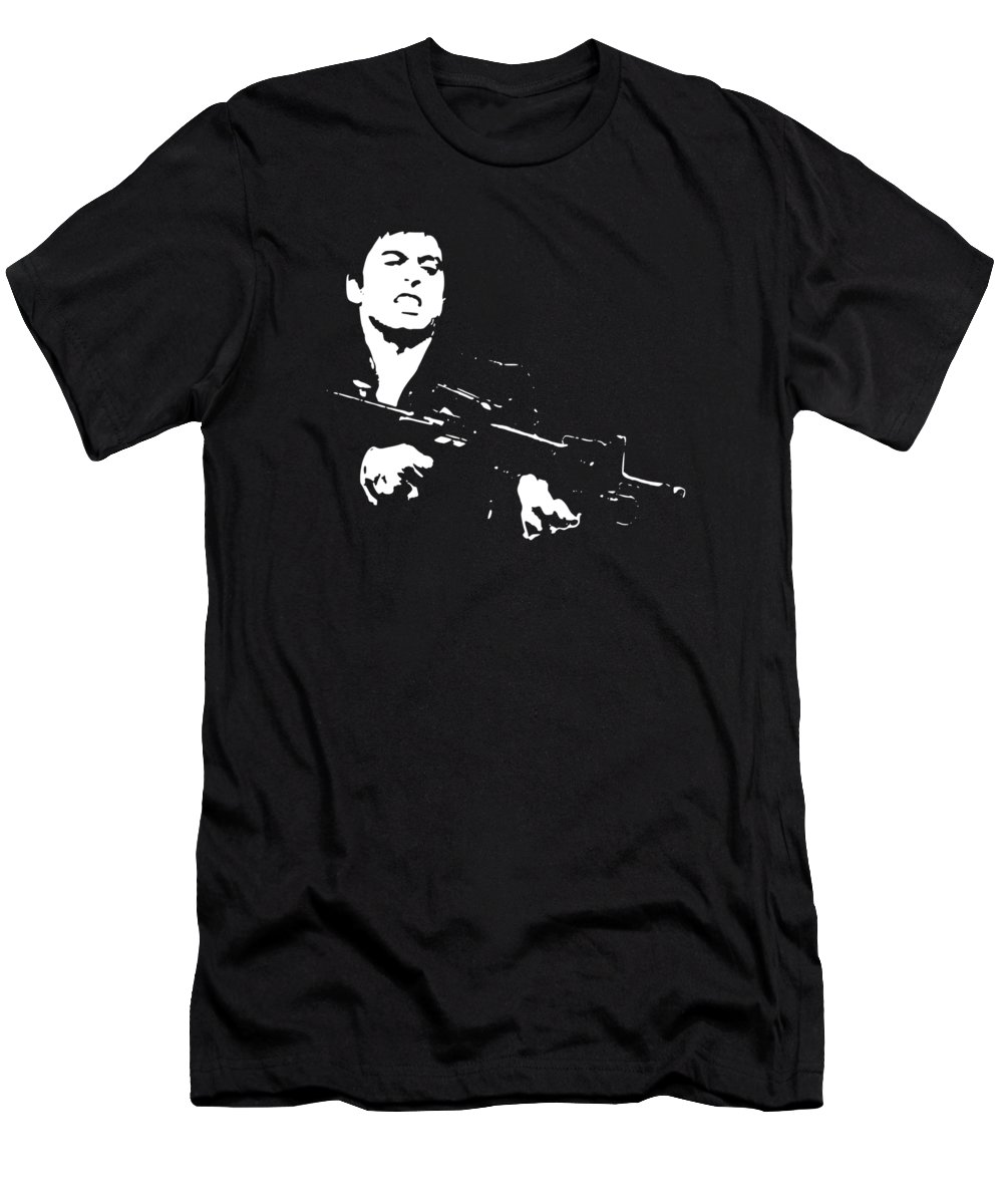Scarface Men's T-Shirt (Athletic Fit) featuring the digital art Scarface Minimalistic Pop Art by Filip Hellman