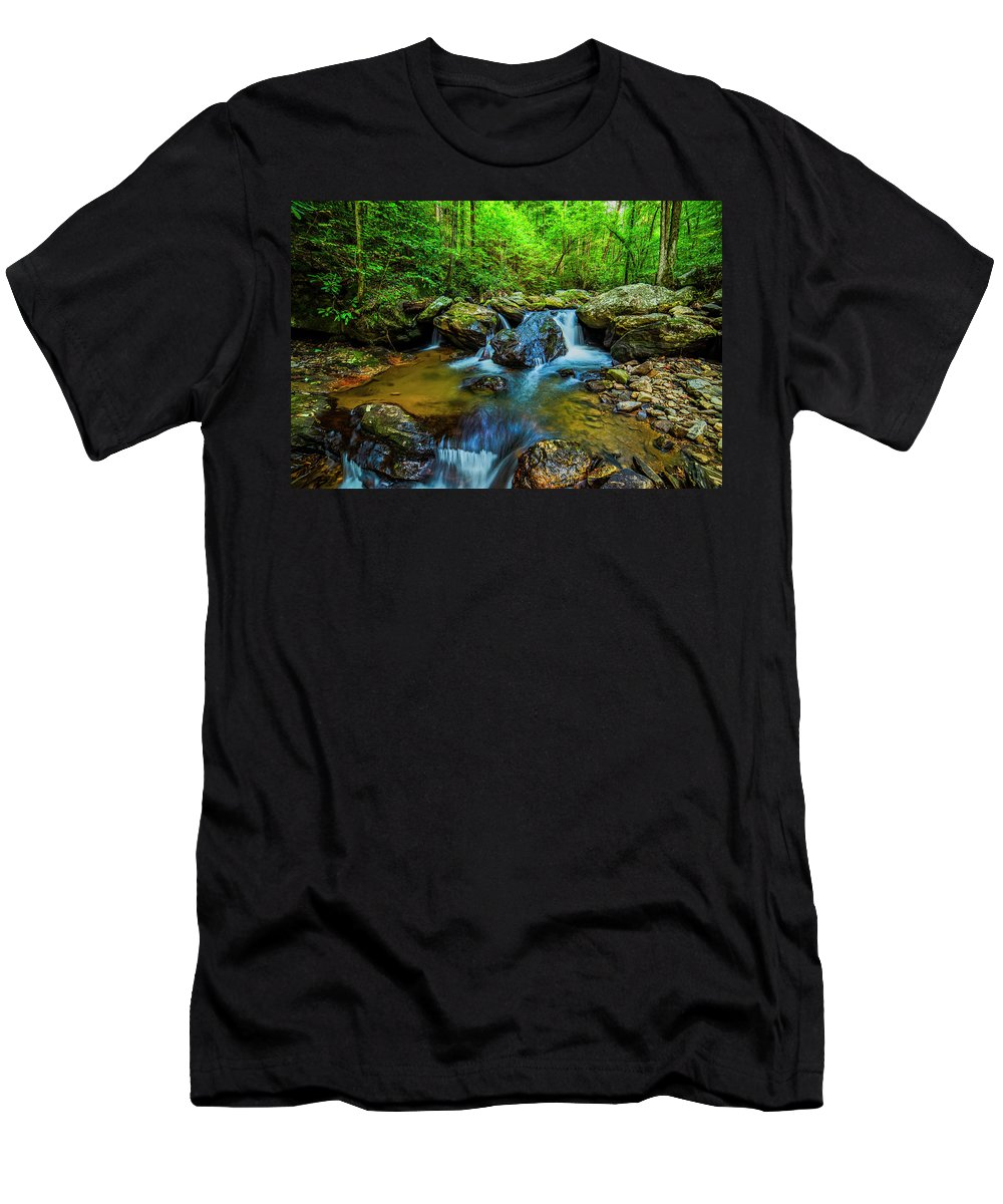 Smoky Mountains Men's T-Shirt (Athletic Fit) featuring the photograph Smith Creek Cascade by Andy Crawford