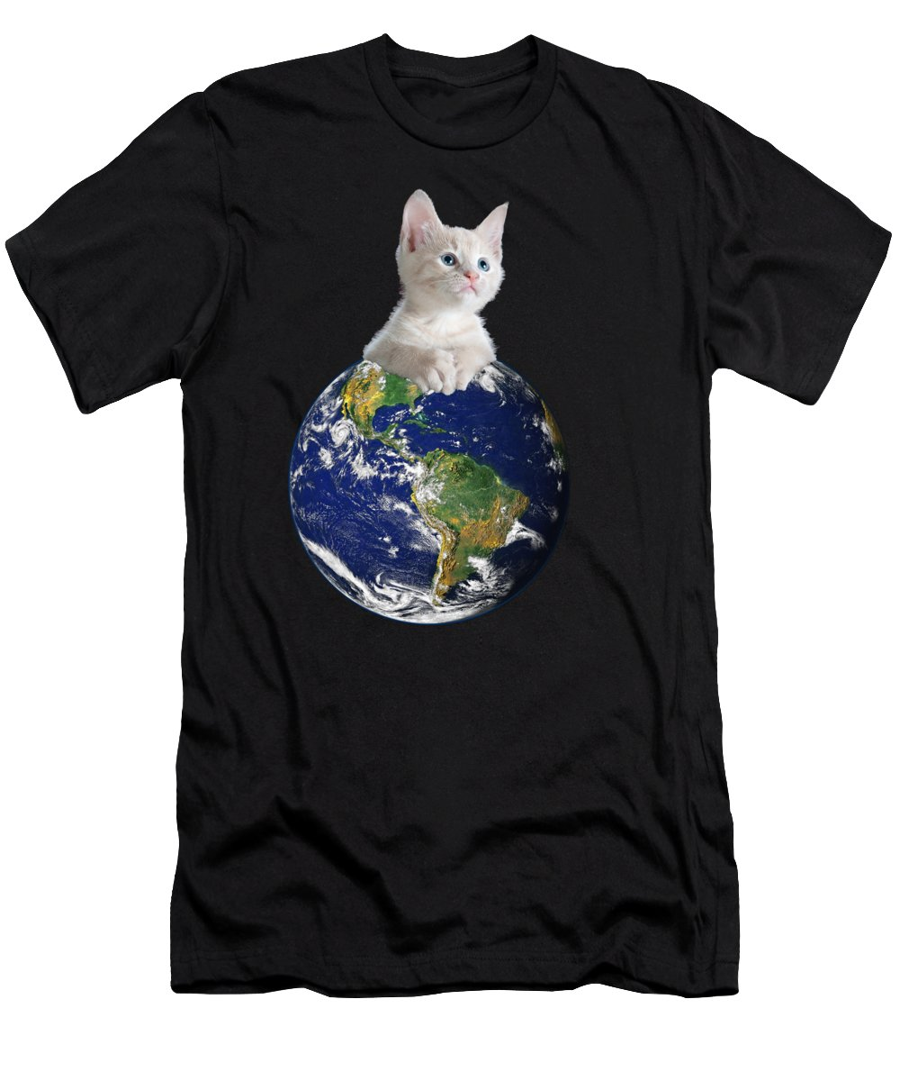 Climate Change T-Shirt featuring the digital art Space Kitten Ruler of Earth Funny by Flippin Sweet Gear