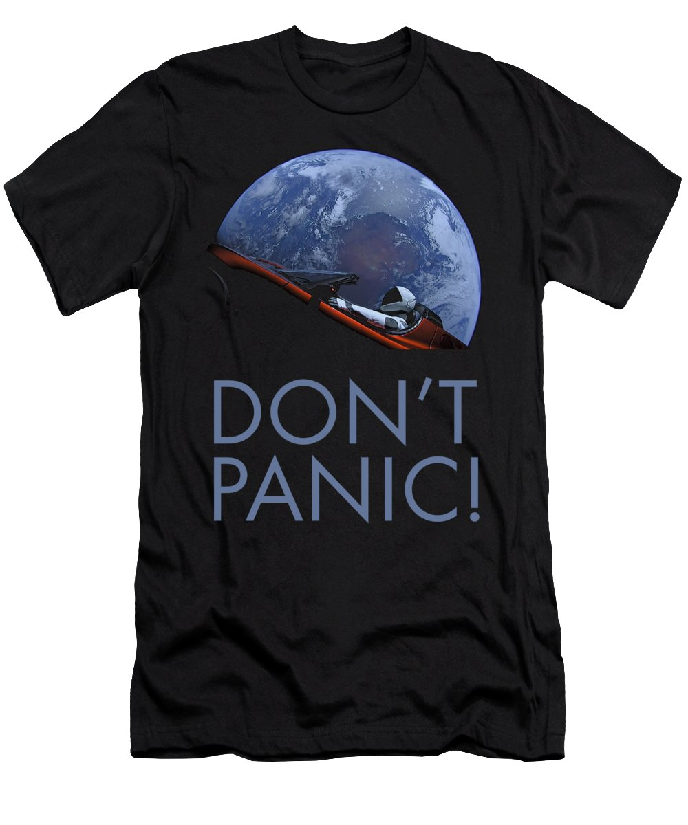 Dont Panic Men's T-Shirt (Athletic Fit) featuring the photograph Starman Don't Panic In Orbit by Filip Hellman