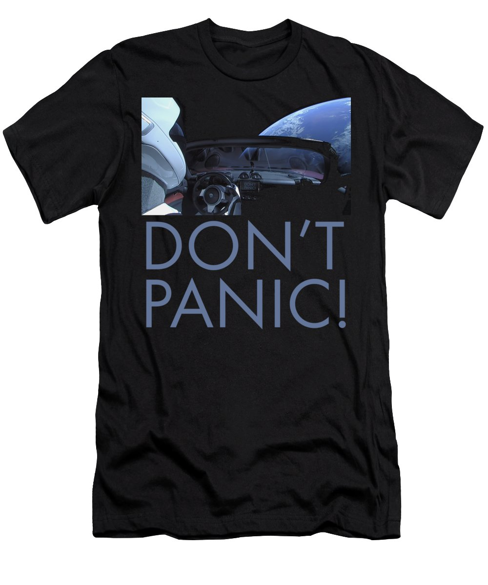 Dont Panic Men's T-Shirt (Athletic Fit) featuring the photograph Starman Don't You Panic Now by Filip Hellman