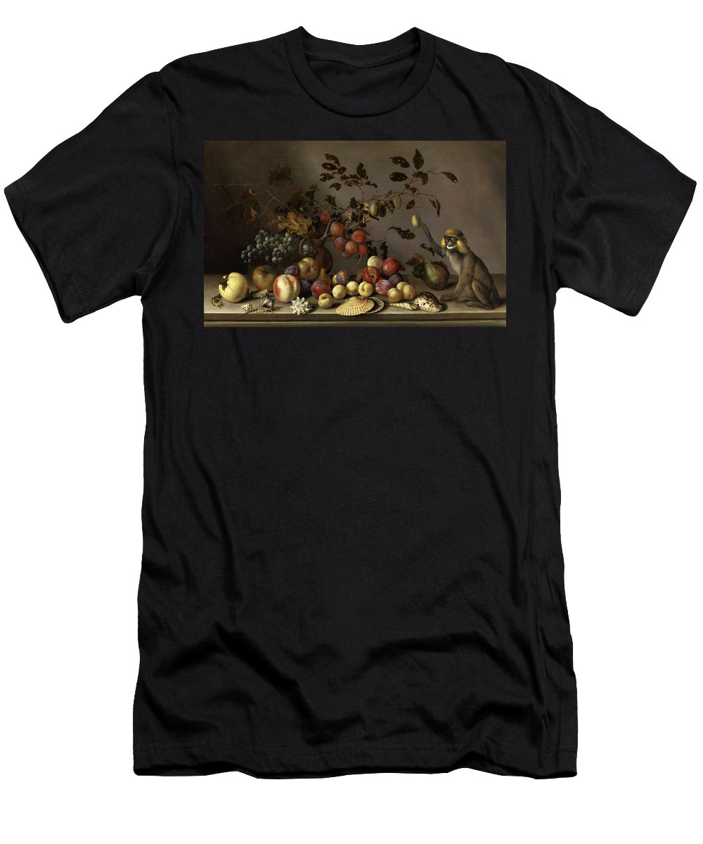 Balthasar Van Der Ast T-Shirt featuring the painting Still Life With Fruits, Shells And Monkey by Balthasar van der Ast