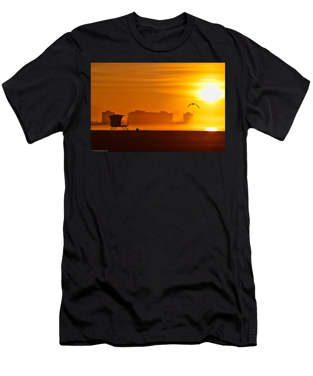 Sunrise Men's T-Shirt (Athletic Fit) featuring the photograph Sunrise On Coronado by Tommy Anderson
