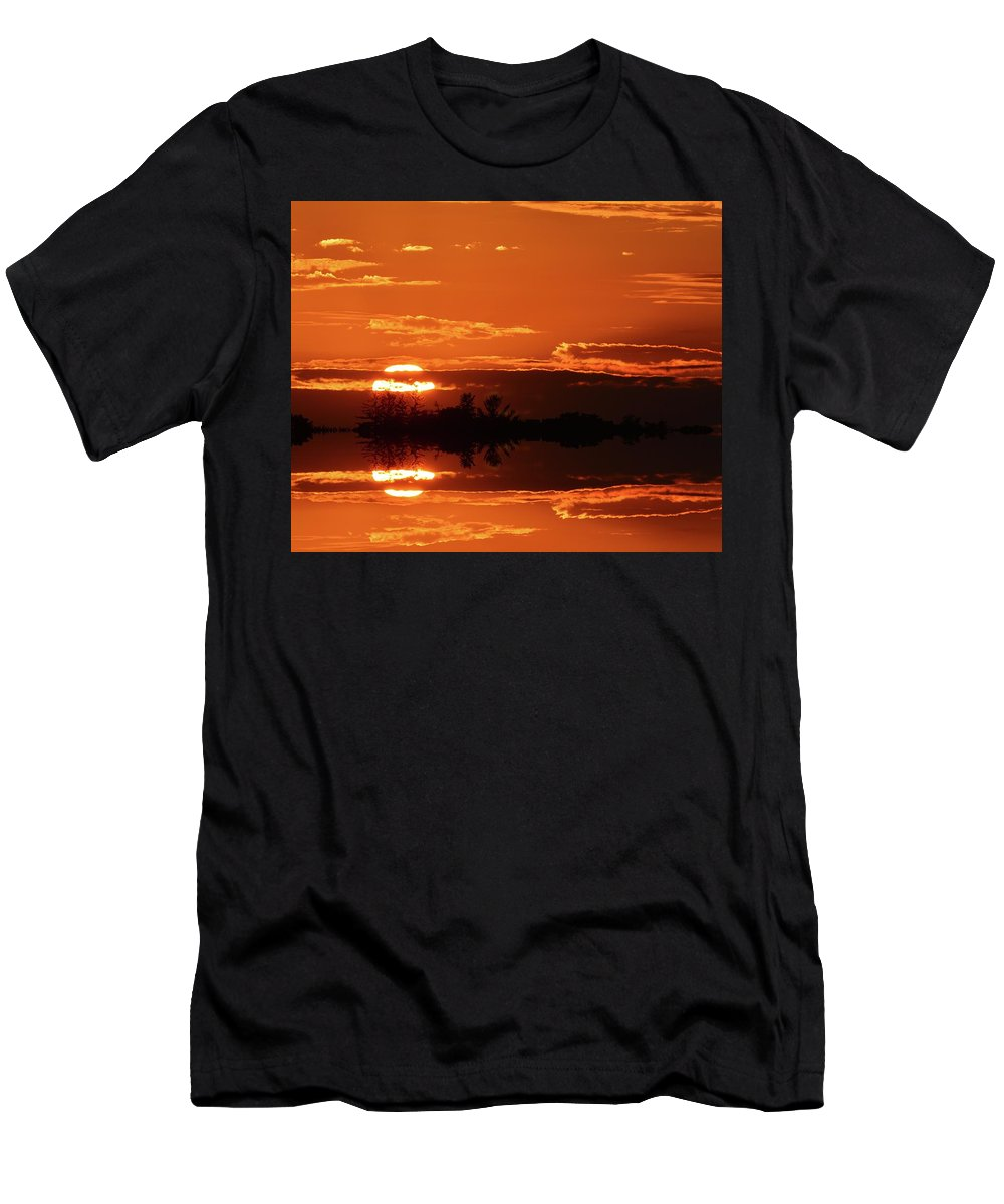 Abstract Men's T-Shirt (Athletic Fit) featuring the digital art Sunset Behind Clouds Two by Lyle Crump