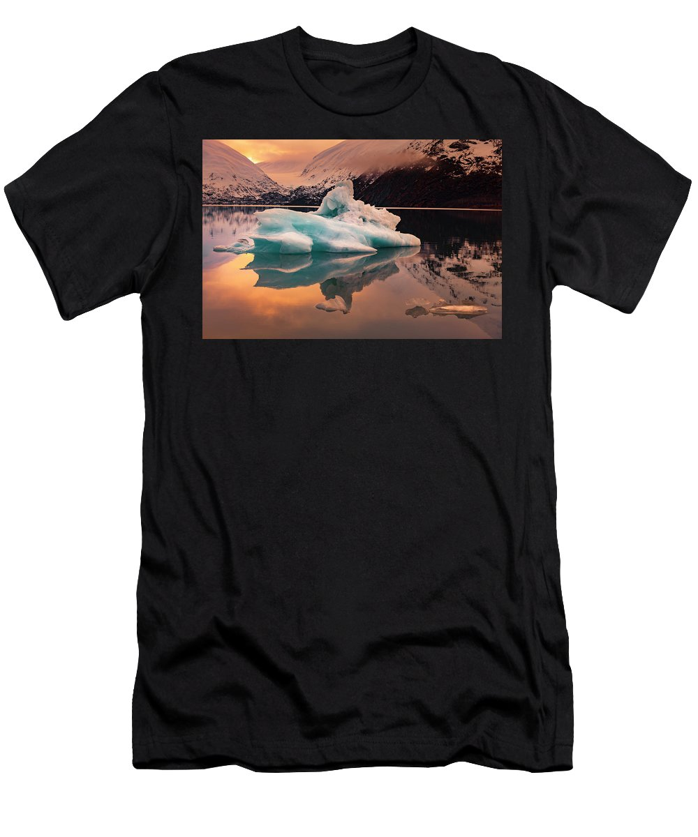 Alaska Men's T-Shirt (Athletic Fit) featuring the photograph Sunset On Portage Glacier Lake by Scott Slone