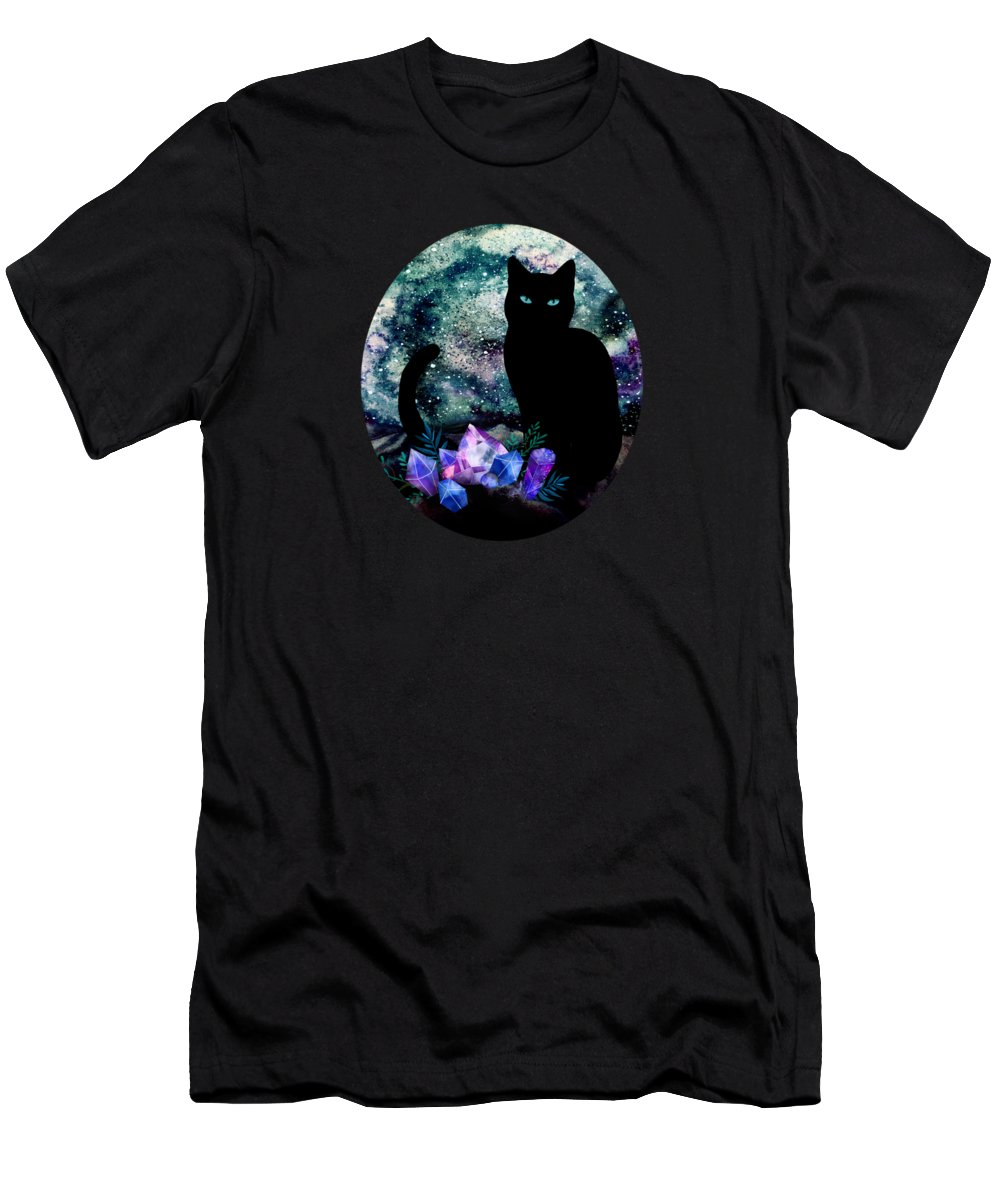 Painting Men's T-Shirt (Athletic Fit) featuring the painting The Cat With Aquamarine Eyes And Celestial Crystals by Little Bunny Sunshine