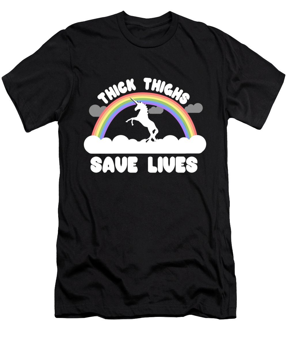 Cool Men's T-Shirt (Athletic Fit) featuring the digital art Thick Thighs Save Lives by Flippin Sweet Gear