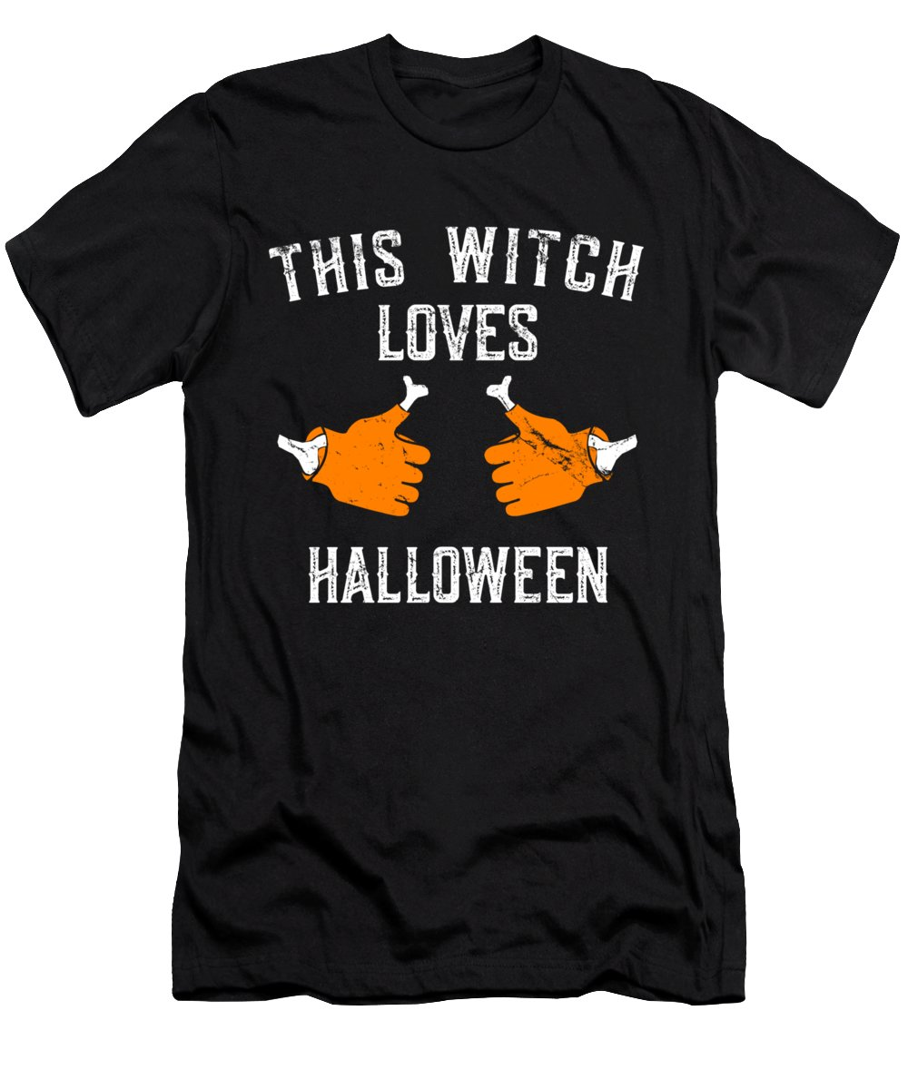Cool Men's T-Shirt (Athletic Fit) featuring the digital art This Witch Loves Halloween by Flippin Sweet Gear