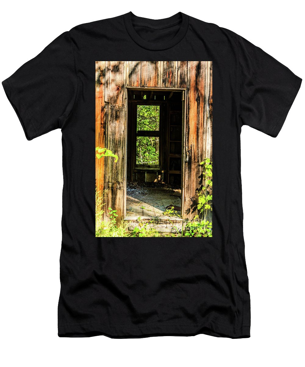 Old Building Men's T-Shirt (Athletic Fit) featuring the photograph Through The Old Blacksmith Shop by Terri Morris