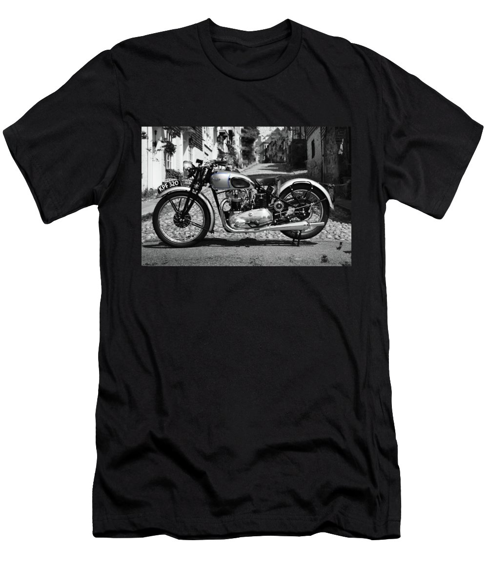 Triumph Tiger Men's T-Shirt (Athletic Fit) featuring the photograph Tiger T100 Vintage Motorcycle by Mark Rogan