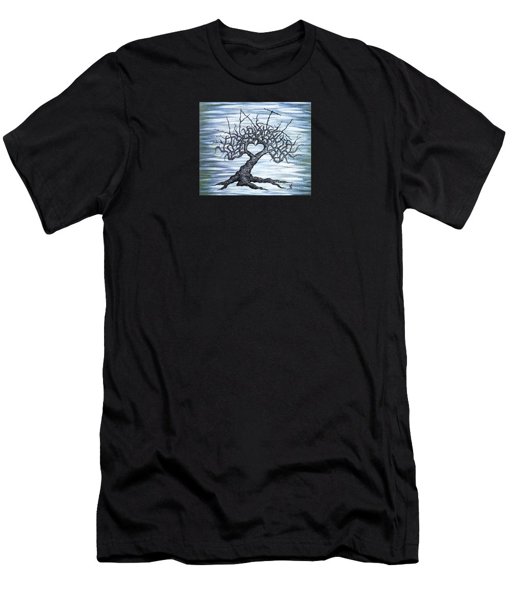 Vail Men's T-Shirt (Athletic Fit) featuring the drawing Vail Love Tree by Aaron Bombalicki