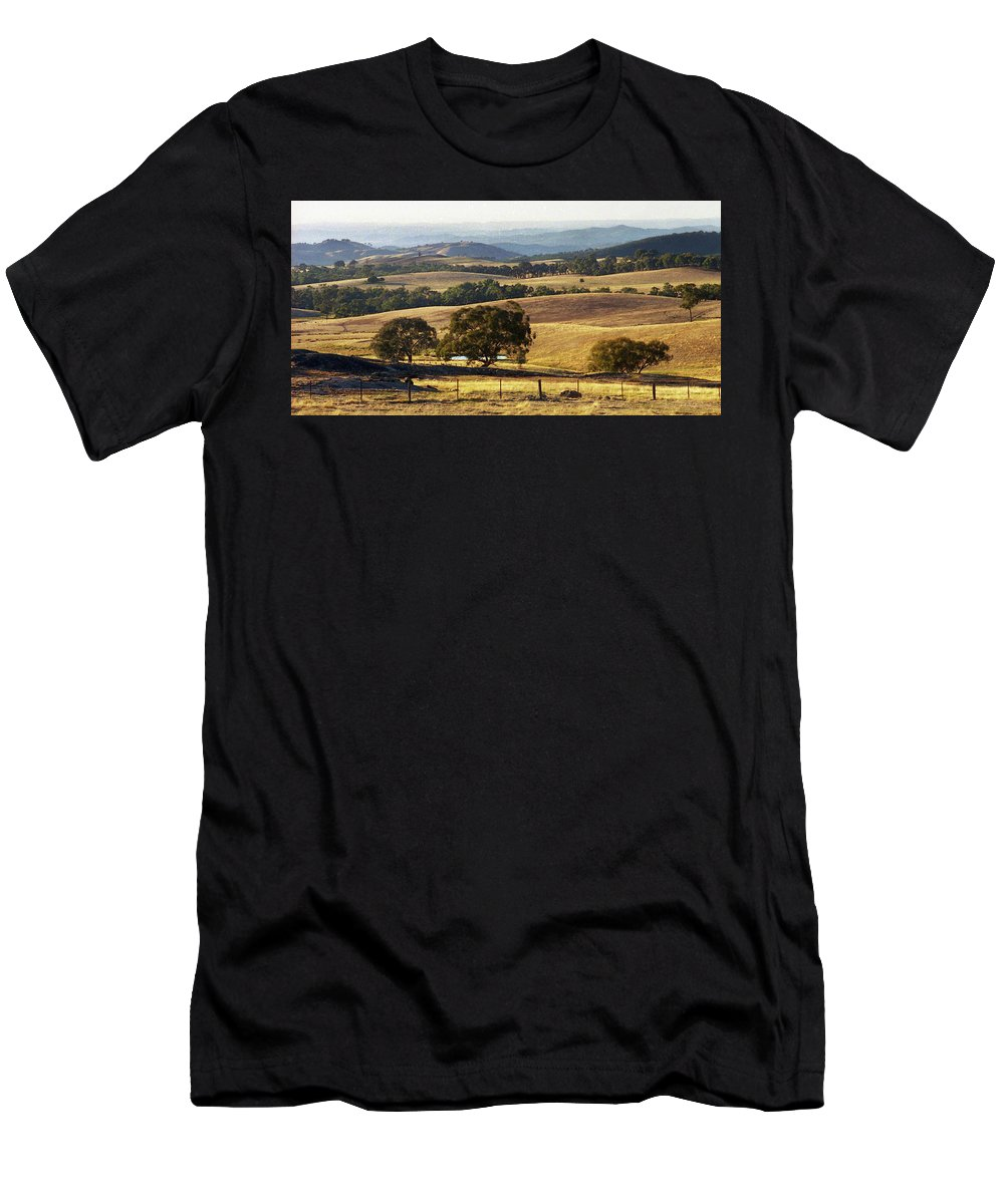 Australia Men's T-Shirt (Athletic Fit) featuring the photograph Victoria Countryside Layers by Jerry Griffin
