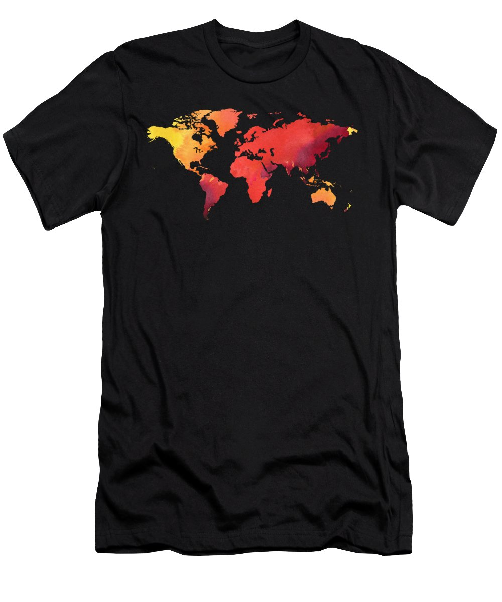 Red T-Shirt featuring the painting Watercolor Silhouette World Map Colorful Png Ix by Irina Sztukowski