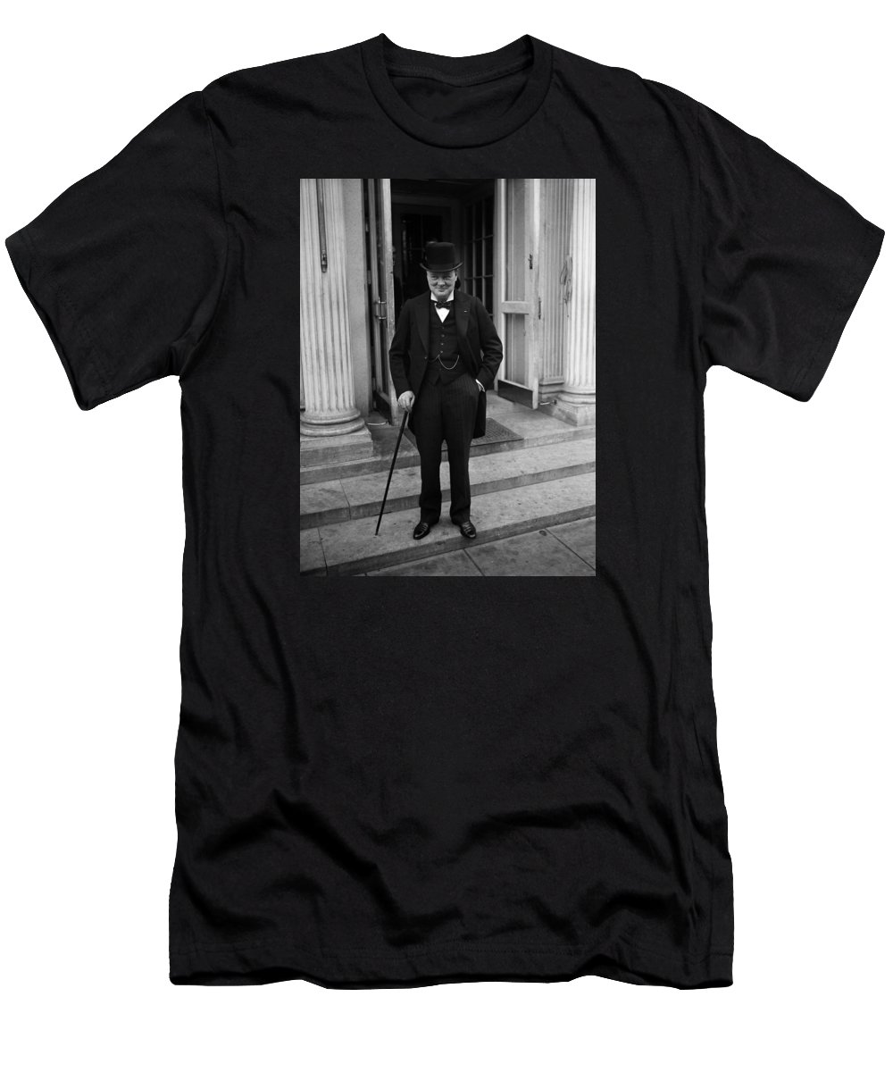 Churchill T-Shirt featuring the photograph Winston Churchill At White House - 1929 by War Is Hell Store