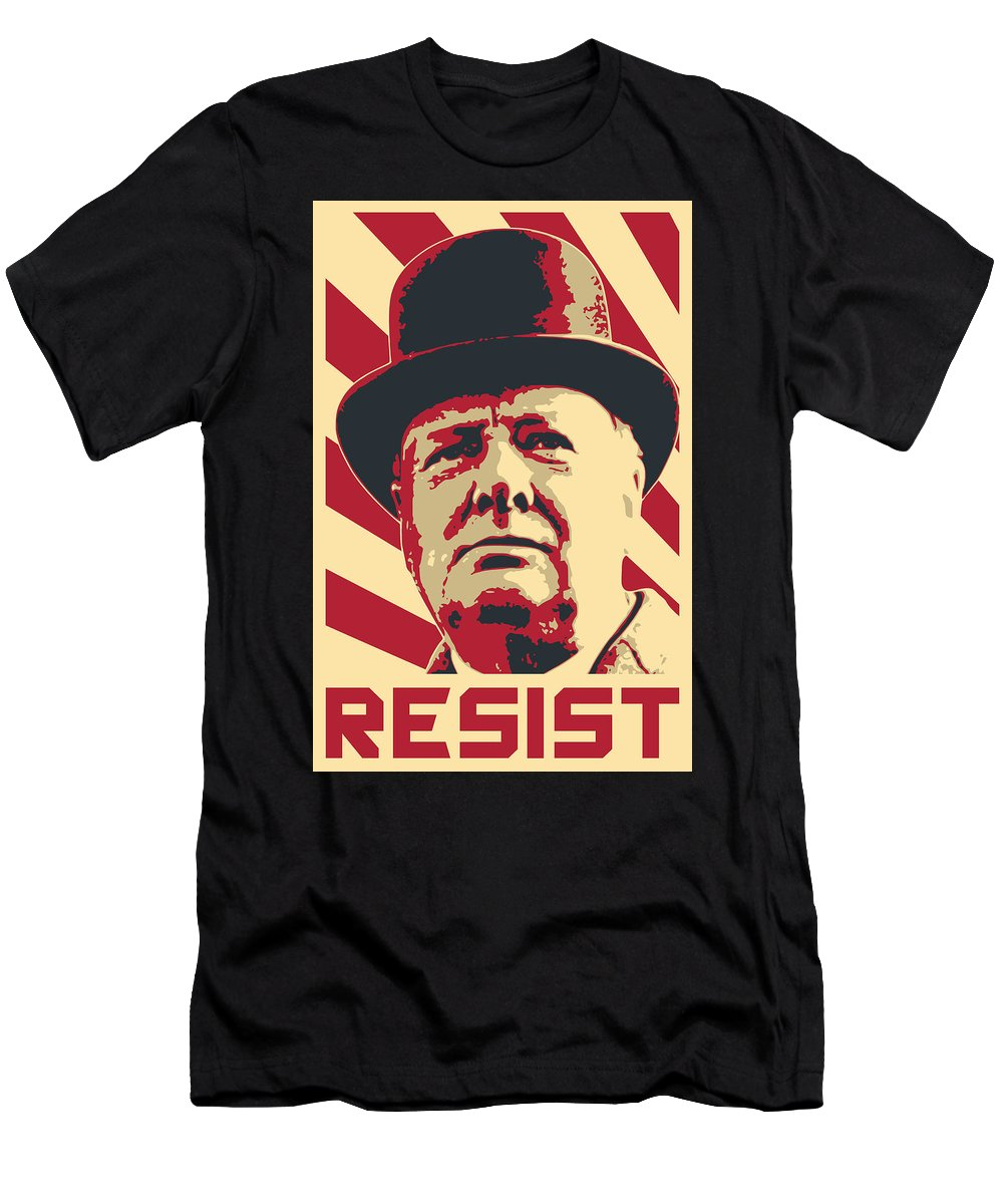 England T-Shirt featuring the digital art Winston Churchill Resist by Filip Hellman