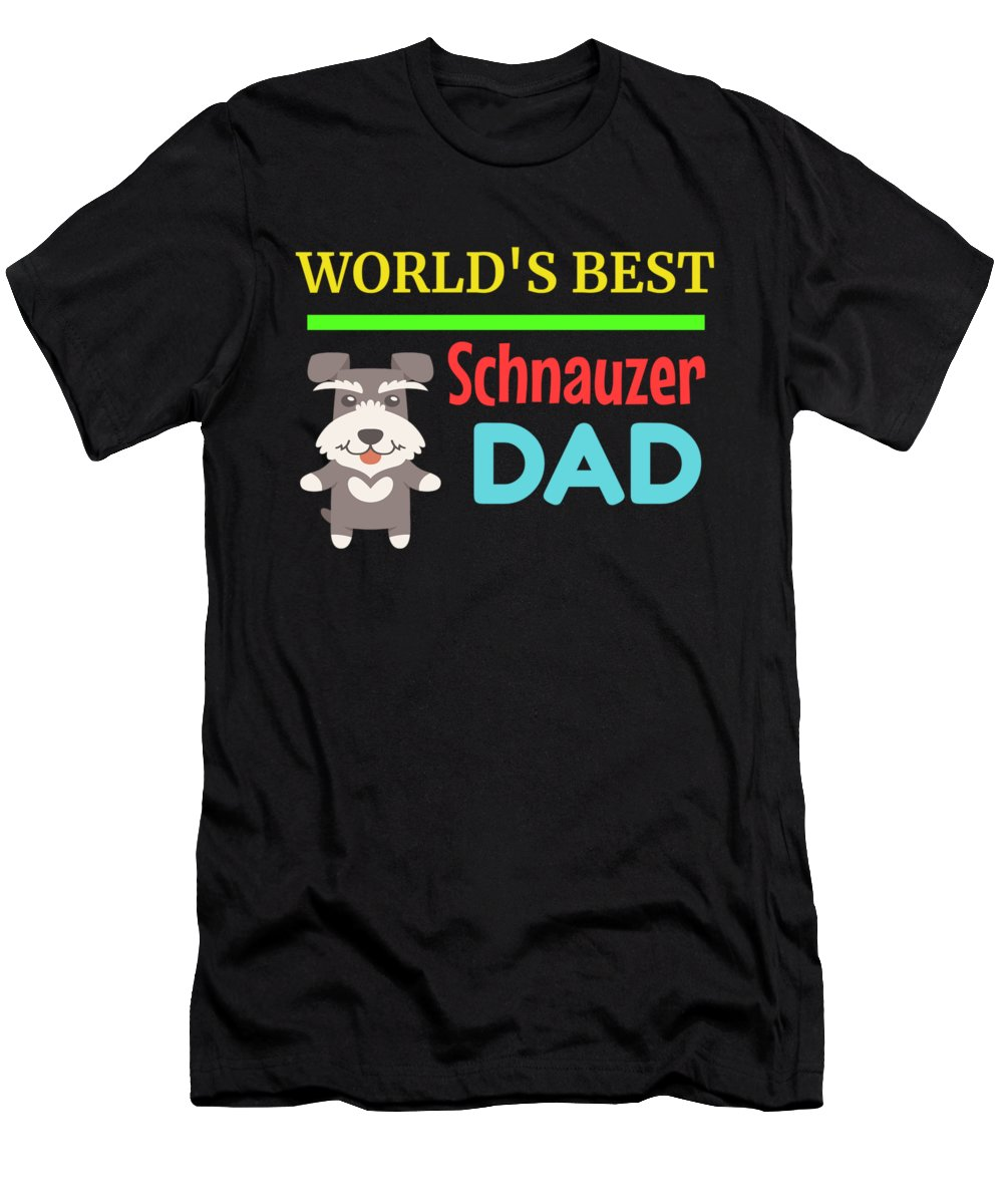 Cute-dog-dad Men's T-Shirt (Athletic Fit) featuring the digital art Worlds Best Schnauzer Dad by DogBoo