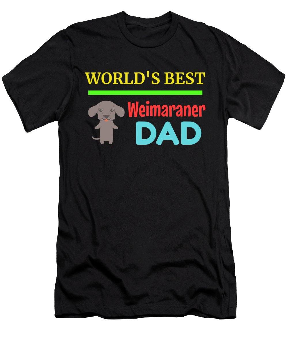 Cute-dog-dad Men's T-Shirt (Athletic Fit) featuring the digital art Worlds Best Weimaraner Dad by DogBoo