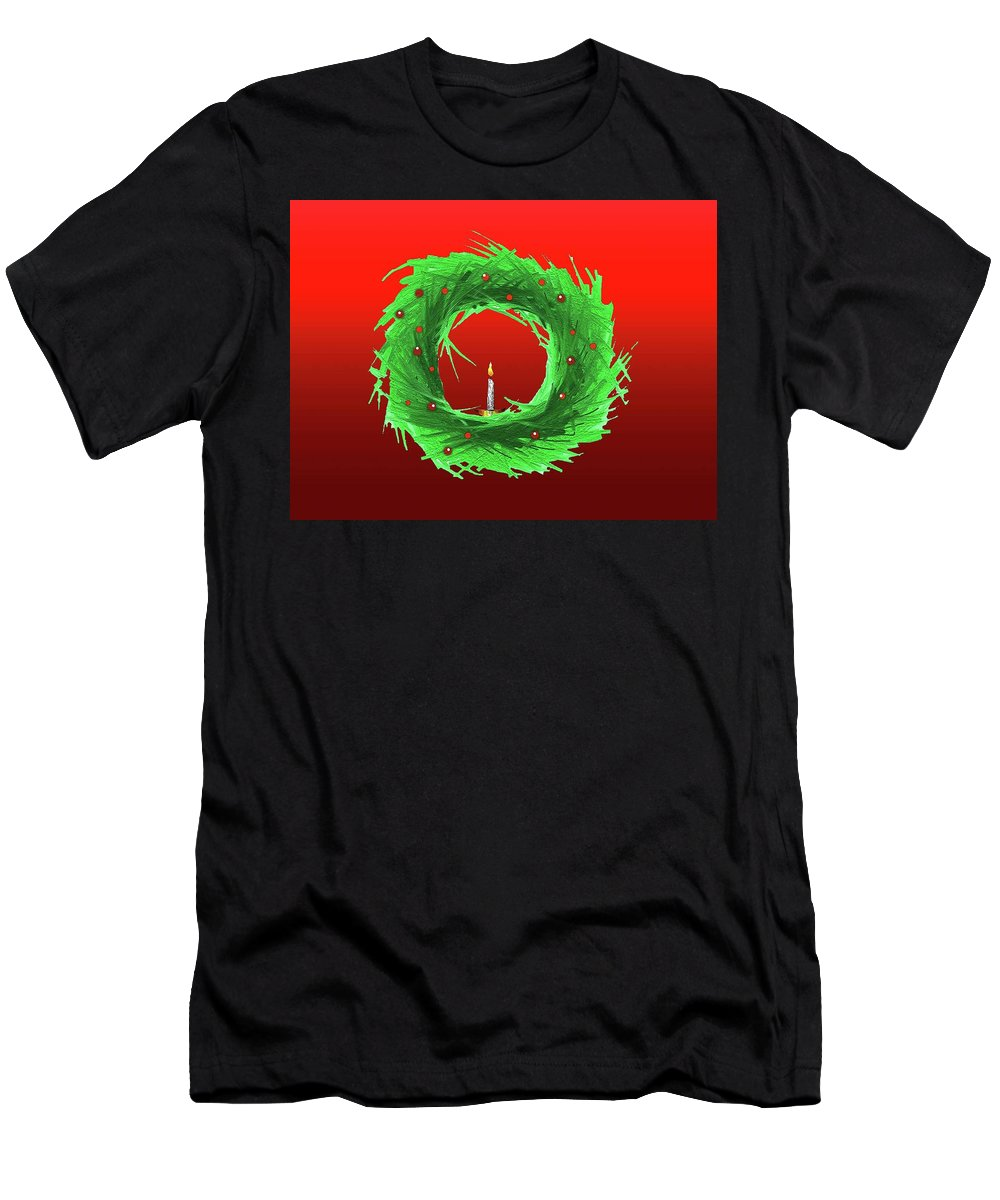 Christmas/holiday Design Men's T-Shirt (Athletic Fit) featuring the drawing Wreath2 by Kris Haney Sirk Designs Ltd