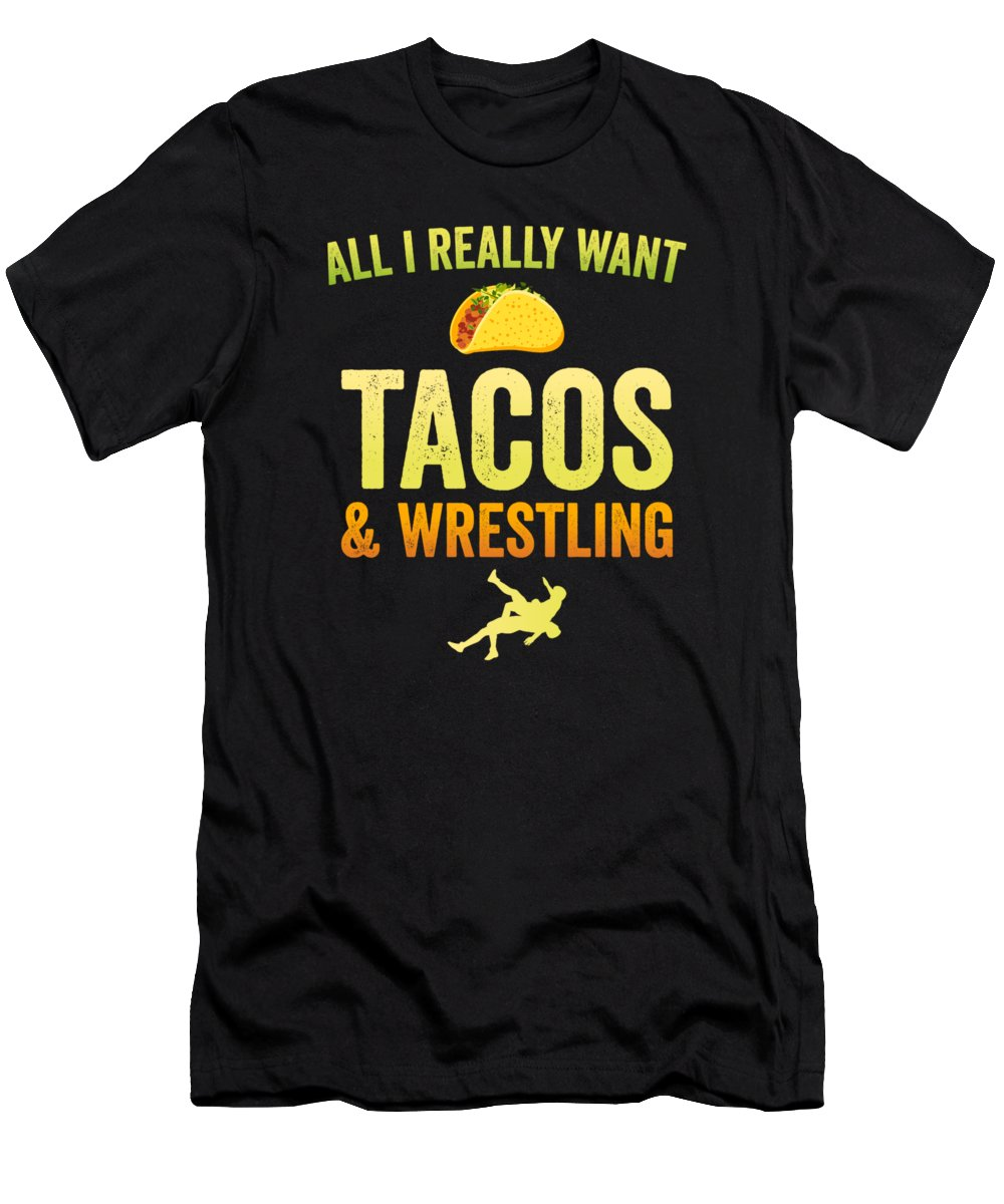 Wrestle Men's T-Shirt (Athletic Fit) featuring the digital art Wrestling All I Want Taco Silhouette Gift Light by J P