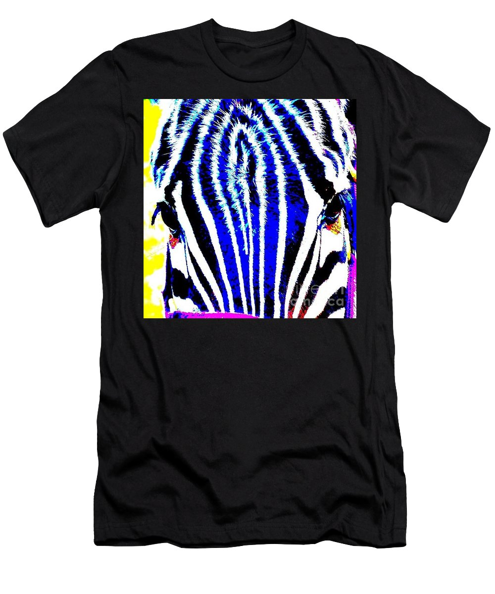 Zany Men's T-Shirt (Athletic Fit) featuring the photograph Zany Zebra II by Lisa Renee Ludlum