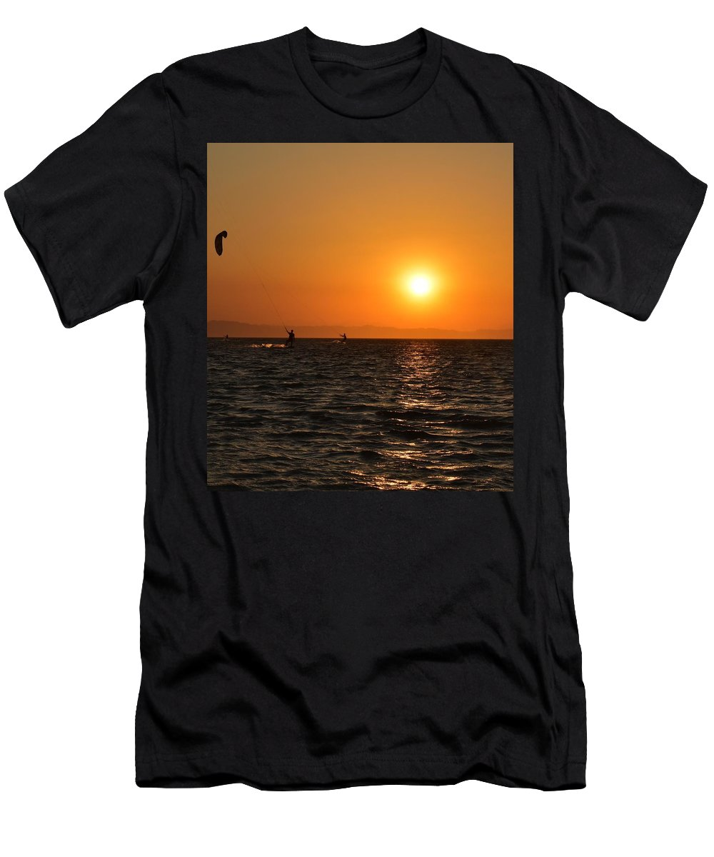 Kitesurfing T-Shirt featuring the photograph Red sea sunset by Luca Lautenschlaeger